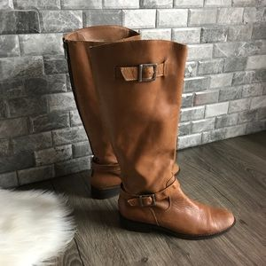 Matisse Betty tan leather buckle riding boots